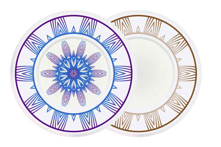 Vector set of two round frame and floral mandala ornament. For kitchen decoration, fashion print. 일러스트