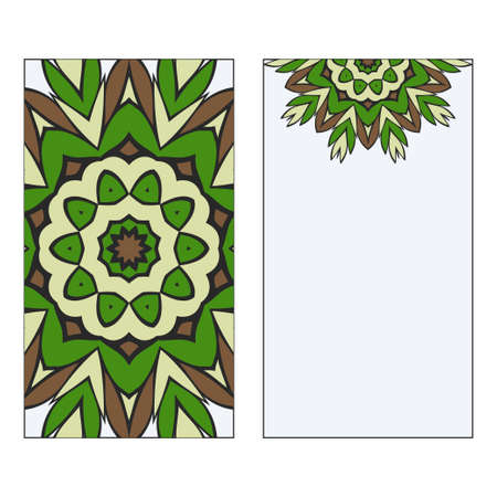 Ethnic Mandala Ornament. Templates invitation card With Mandalas. Floral decoration. Vector illustration Green, brown color. Card Design For Banners, Greeting Cards, Gifts Tags 일러스트