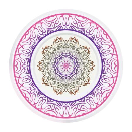 Decorative round ornament. Frame decoration with floral mandala. Vector illustration. Illusztráció