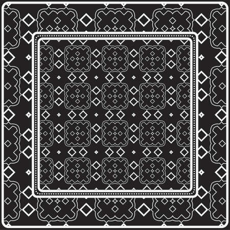 Design Of A Scarf With A Geometric Pattern . Vector illustration. Black and white color. For fashion print, modern design, scrapbooking, background Reklamní fotografie - 133972691