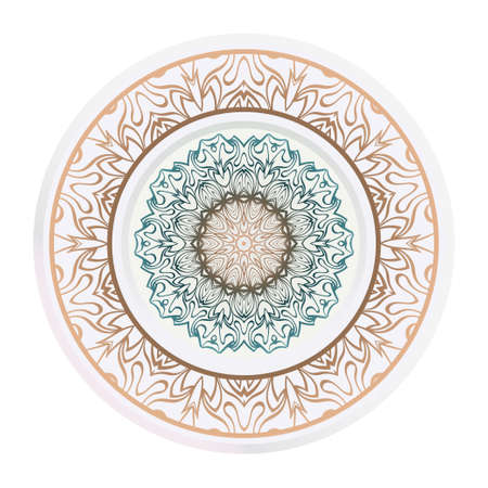 decorative plates for interior design. Empty dish, porcelain plate mock up design. Vector illustration. Decorative plates with Mandala ornament patterns. Home decor background.