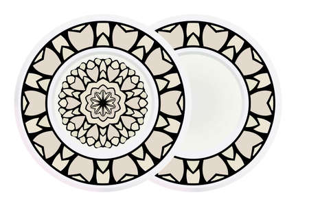 Matching decorative plates for interior designwith floral art deco pattern. Empty dish, porcelain plate mock up design. Vector illustration. White, grey color. Illusztráció