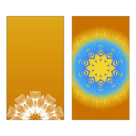 Yoga Card Template With Mandala Pattern. Vector illustration. Blue, yellow, white color. For Visit Card, Business, Greeting Card Invitation. Islam, Arabic, Indian, Mexican Ottoman Motifs Reklamní fotografie - 133972134