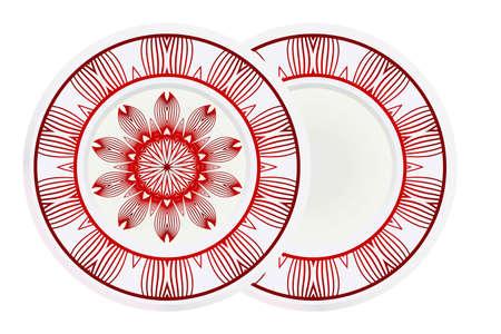Concept Decorative plates with Mandala ornament patterns. Home decor background. Vector illustration