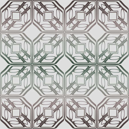 Abstract Vector Seamless Pattern With Abstract Geometric Style. Repeating Sample Figure And Line. Grey, green color. Standard-Bild - 133971197