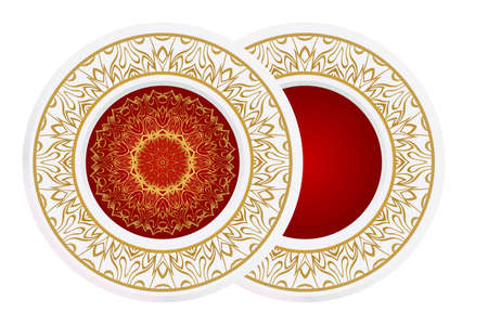 matching decorative plates. Decorative mandala ornament for wall design. Vector illustration.