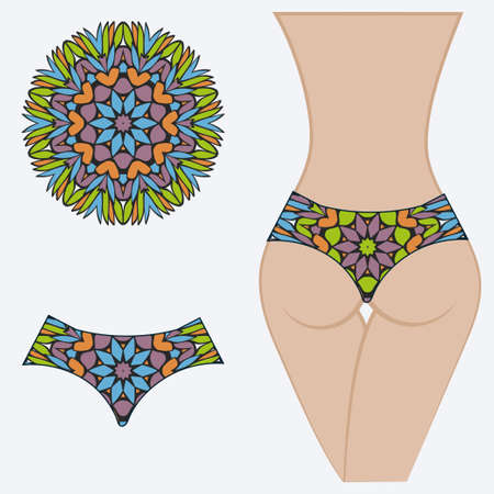 Female buttocks with panties. Decorative vector illustration. Mandala fashion print Ilustração