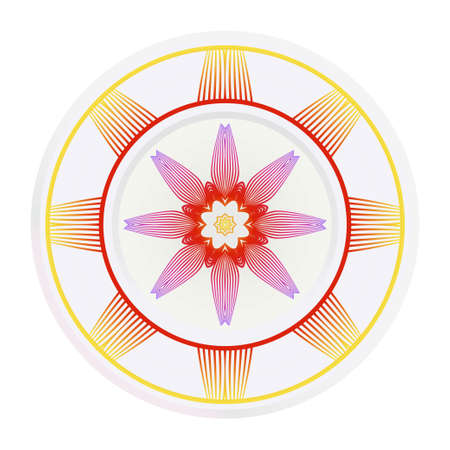 matching decorative plates. Decorative mandala ornament. Vector illustration. for interior design, circle medalion, colorful kitchen. Ilustrace