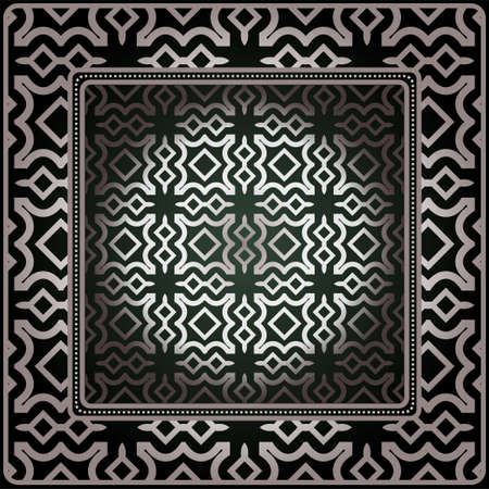 Geometric Ornament With Frame, Border. Art-Deco Background. Bandanna, Shawl, Scarf, Tablecloth Design. Ilustrace