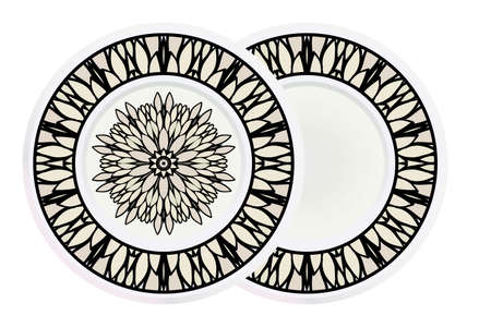 Matching decorative plates for interior designwith floral art deco pattern. Empty dish, porcelain plate mock up design. Vector illustration. White, grey color. Ilustracja