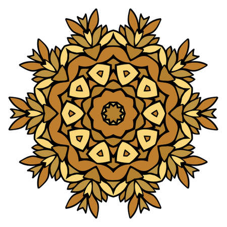 Oriental Mandala. Vintage Decorative Elements. Vector illustration. Golden color. For Coloring Book, Greeting Card, Invitation, Tattoo. Anti-Stress Therapy Pattern Ilustrace