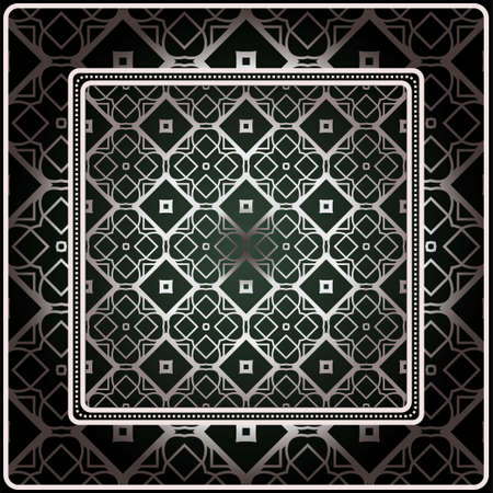 Background, Geometric Pattern With Ornate Lace Frame. Illustration. For Scarf Print, Fabric, Covers, Scrapbooking, Bandana, Pareo, Shawl. Silver. dark grey, green color color. Иллюстрация