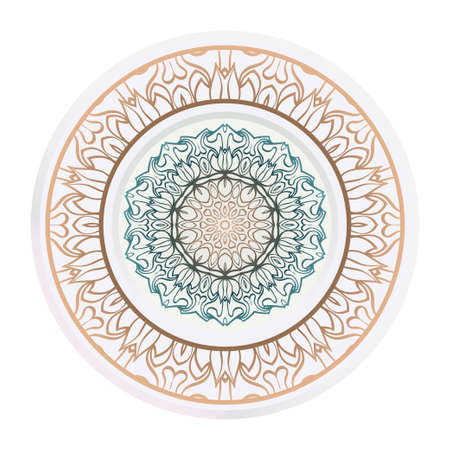 relaxing decorative symbol. vector illustration. floral magic circle.