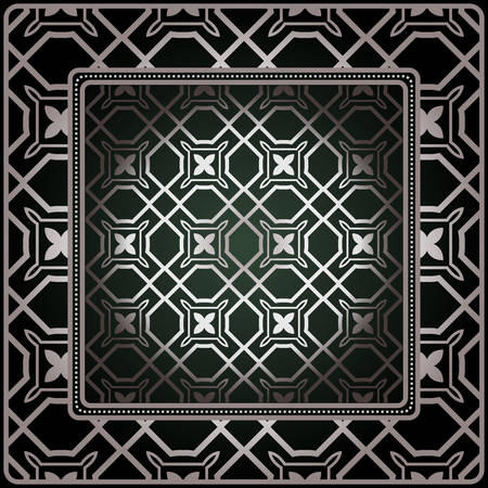 Background, Geometric Pattern With Ornate Lace Frame. Illustration. For Tablecloth, Scarf Print, Fabric, Covers, Scrapbooking, Bandana, Pareo, Shawl Ilustrace