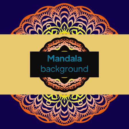 Indian floral paisley medallion banners. Ethnic Mandala ornament. For greeting card, coloring book, phone case print. Vector illustration Ilustração