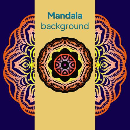 Ornamental arabic pattern with mandala. Vintage vector for print or web design. Invitation, wedding card, national design. Ilustração