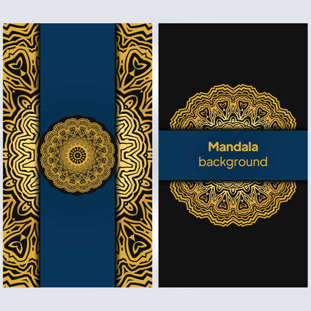 template with floral Mandala ornament. Lace pattern with hand drawn striped colorful Mandala. Vector illustration