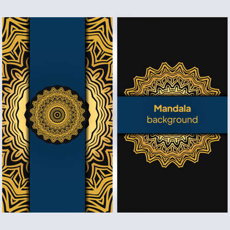 Yoga card template with floral frame pattern. For business card, fitness center, meditation class. vECTOR