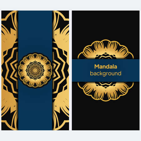 Invitation or wedding card with mandala. Template of greeting card, background pattern, fashion design. Vector illustration
