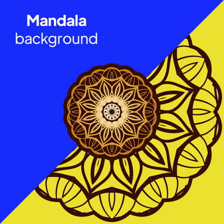 Yoga Card Template With Mandala Pattern. For Business Card, Fitness Center, Meditation Class. Vector Illustration. Banque d'images - 161409554