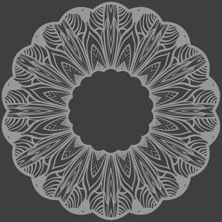 decorative round border with floral ornament. vector illustration