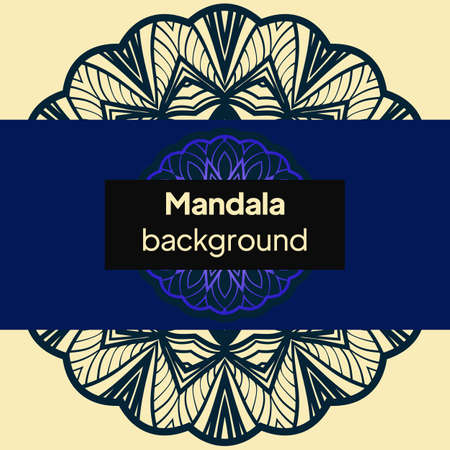 Vector mandala floral background for greeting invitation card, design element. Place for text. Illustration