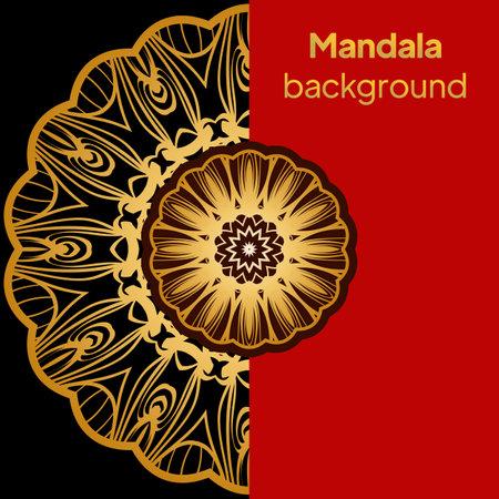 luxury color background with mandala pattern, ornament elegant invitation wedding card, invite, backdrop cover banner. vector illustration