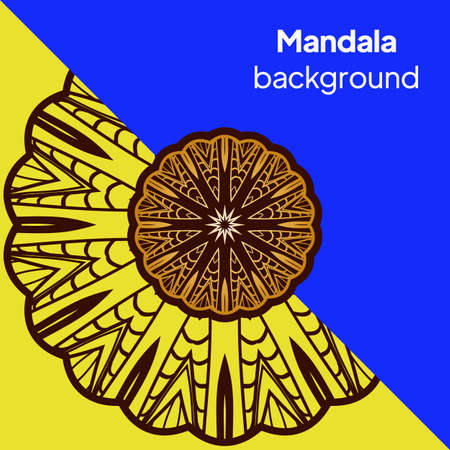 Design for square fashion print. For pocket, shawl, textile, bandanna. Mandala floral pattern. Vector illustration. Banque d'images - 161409602