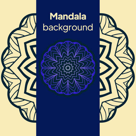 Background with lace mandala ornament. Template greeting card design. Decoration elements for design invitation, wedding cards, greeting cards. Vector Banque d'images - 161409609