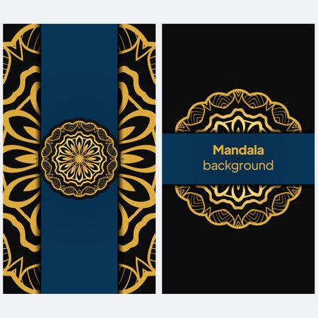 Color greeting card. Ethnic mandala pattern. Hand drawn vector illustration Illustration