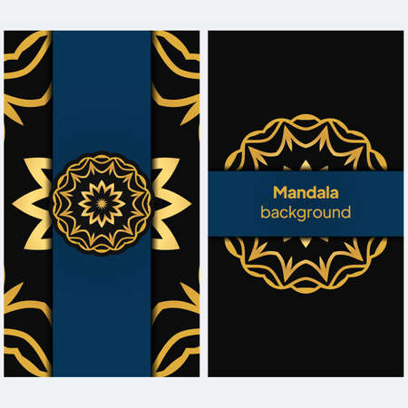 Flyer pages Ornament Illustration Concept with Mandala. Vintage Art Indian, Magazine. Vector Decorative Layout Design. Vector Illustration