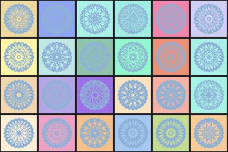 Set of decorative mandala element. Vector illustration