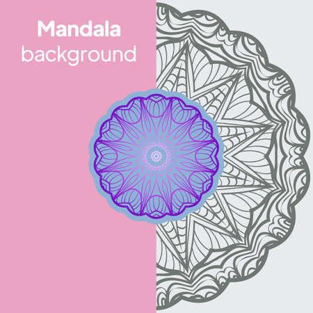 Ornamental floral cards or invitation with mandala. Vector illustration Illustration