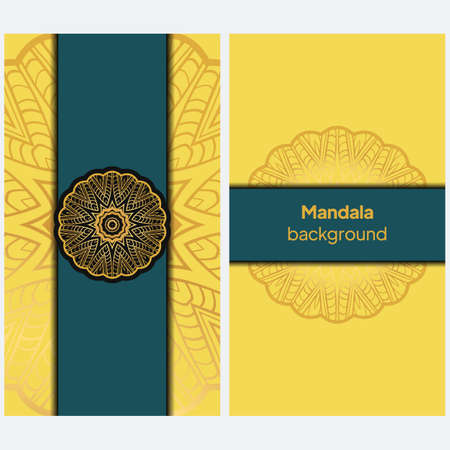 Vector indian Mandala. Template for greating card. Vector illustration