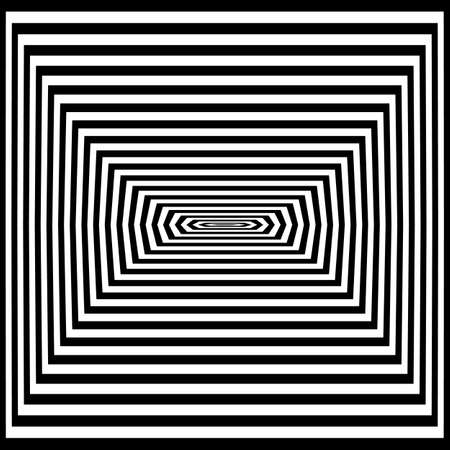 Optical art illusion of striped geometric black and white abstract surface. Vector illustration