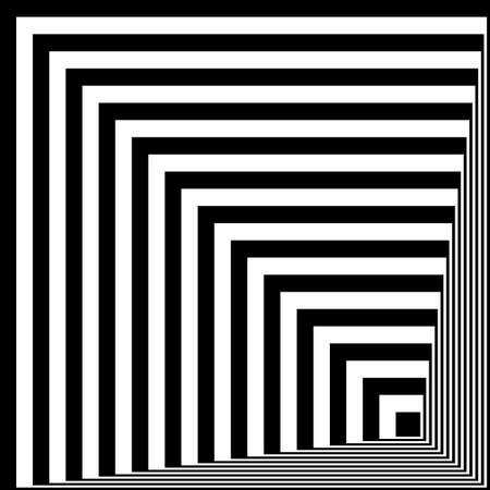 Black white line distortion illusion design. Geometric stripped pattern. Vector monochrome background. Ilustração