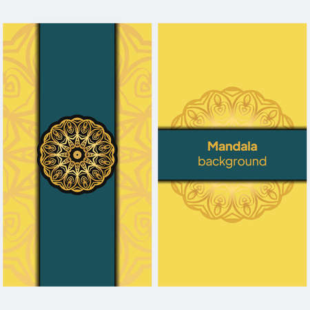 Decorative Template Card with Round Mandala From Floral Elements. Vector Illustration.