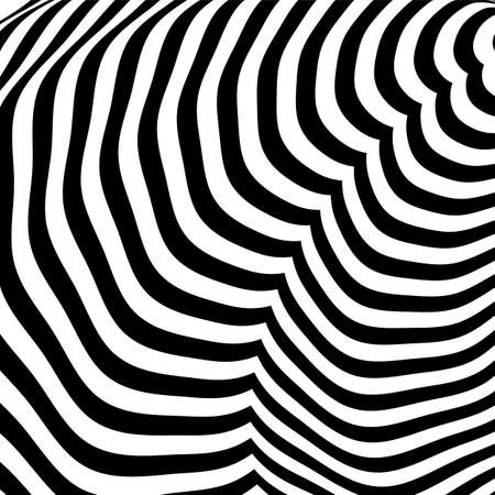 Stripped background. Linear optical illusion backdrop vector design.