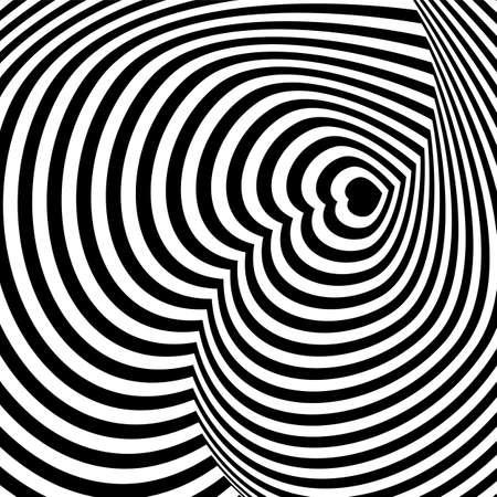 Black white line distortion illusion design. Geometric stripped pattern. Vector monochrome background.