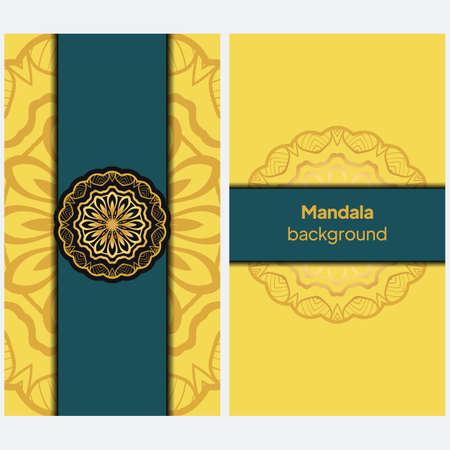 Mandala banner. Decorative flower mandala background with place for text. Vector illustration