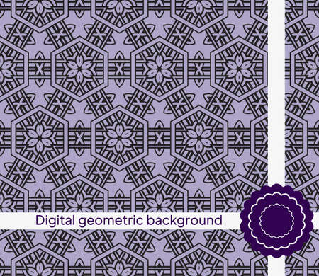 Seamless texture of different floral elements, triangles and other geometric shapes. For the design, printing, wallpaper. Vector illustration.