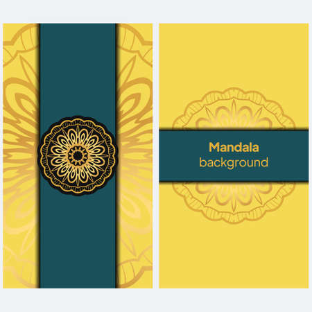 Ornamental floral cards or invitation with mandala. Vector illustration