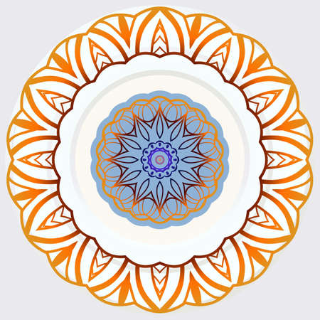 Flower Round Mandala. Vintage decorative elements. Oriental pattern, Vector illustration. Ilustração