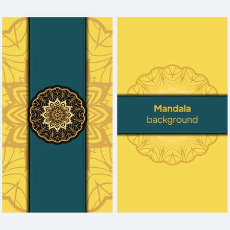 Ethnic Mandala ornament. Templates with mandalas. Vector illustration for congratulation or invitation.