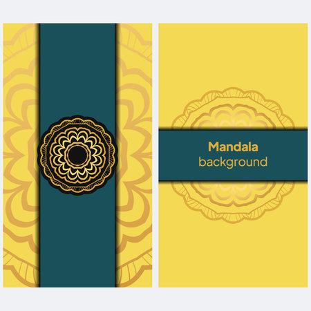 Ornament card with mandala. Geometric circle element. Vector illustration Illustration