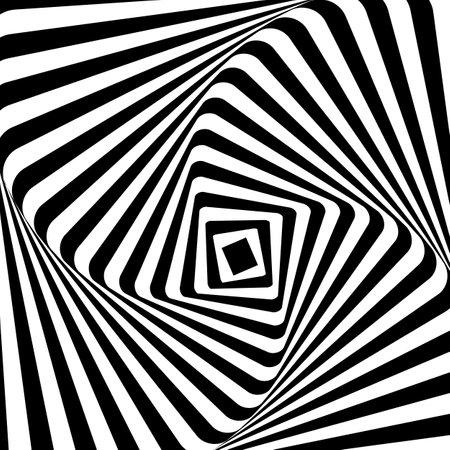 Black white line distortion illusion design. Geometric stripped pattern. Vector monochrome background. Illustration