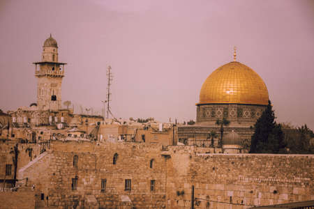 The Dome of the Rock on the temple mount, and the western wall in Jerusalem, Israel Stock Photo