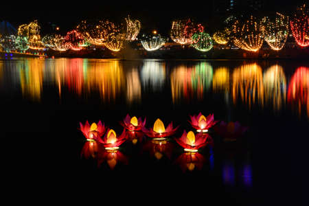 Wesak lanterns on Bere lake in Colombo, Sri Lanka Stock Photo