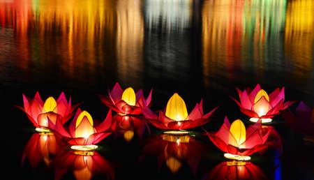 Wesak lanterns on Bere lake in Colombo, Sri Lanka