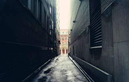 dark street: Dark alley in Toronto, Canada Stock Photo